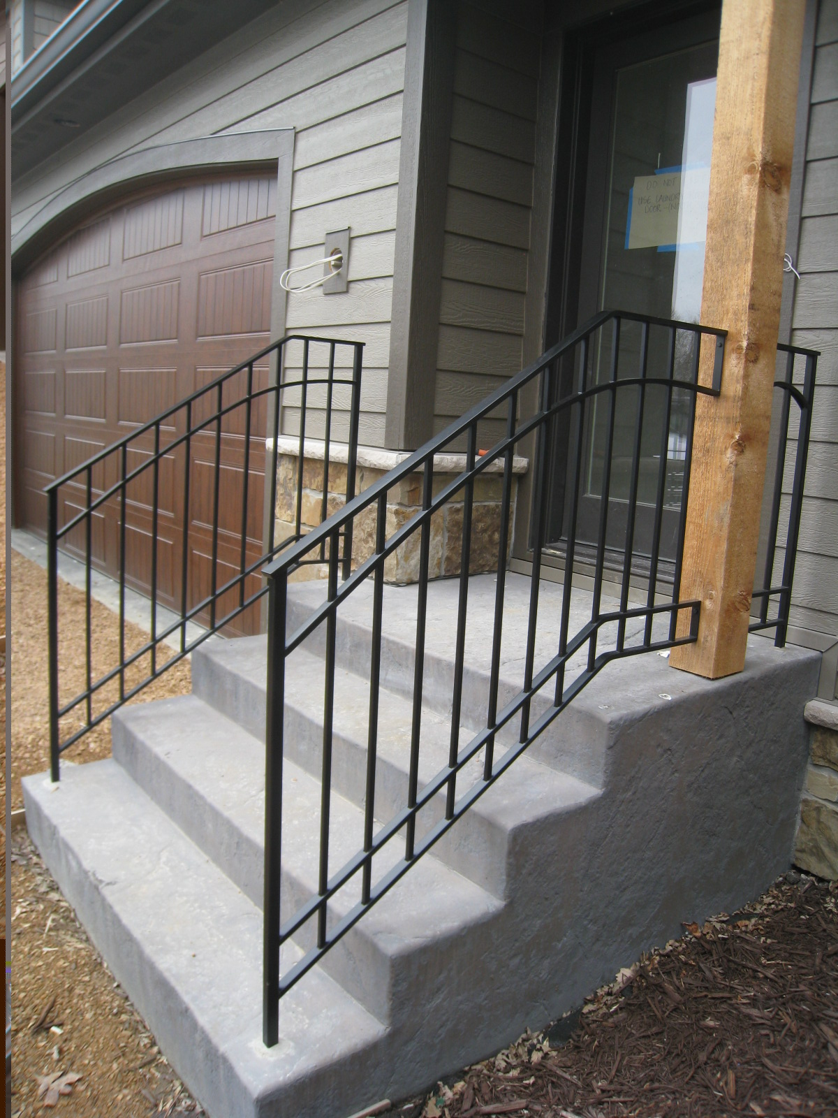 Exterior step railings o 39 brien ornamental iron - Exterior wrought iron handrails for steps ...